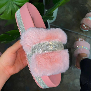 -De-rosa peludo do verão Mulher Chinelos Faux Fur Slides Rhinestone Shoes Pantufas De Pelucia De Bi Fluffy Sliders Plush Chinelos