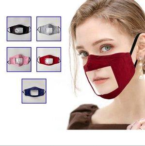 Transparente Lippengesichtsmaske Deaf Mute Lip Waschbar Wiederverwendbare Anti-Staub Klar Baumwolle Visuelle Designer Masken OOA8232 Maske