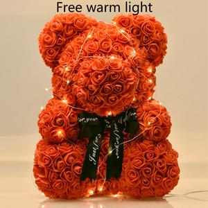 Kadınlar Sevgililer için LED Hediye Kutusu Oyuncak Ayı Gül Sabun Köpüğü Çiçek Yapay yılbaşı Hediyeler ile Güller 40cm Ayı Dropshiping
