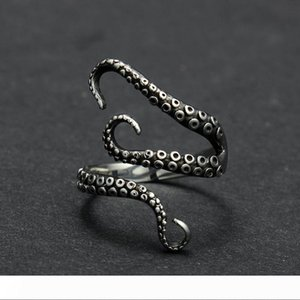 Zinc Alloy Punk Style Squid Octopus Ring 2017 New Men's Jewelry Animal Opened Adjustable Finger Ring for Man Black Gold Color