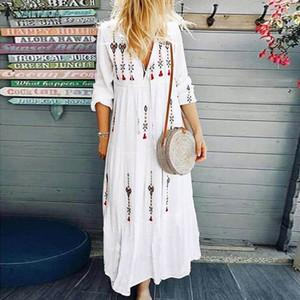 ZANZEA 2020 Kadın Baskılı Sundress Bohemian V Yaka Tunik vestidos Artı boyutu Maxi Elbise Kadın Moda Uzun Kollu Robe Femme