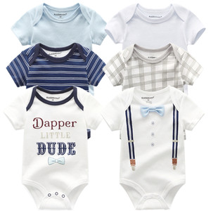 6pcs / lot 2020 Baby Body Neuheit Neugeborene Körperanzüge Short Sleeve Overalls Baby-Overall Karikatur 0-12M Kinder Kleidung