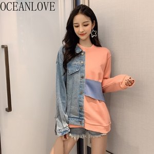 OceanLove Denim Patchwork Hoodie Mode Streetwear Automne Hiver Sweatshirts Femmes 2020 Rose Sweats Vêtements vintage 17619