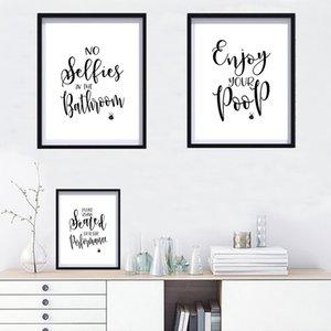 Schwarzweiss-Reinigungs Regeln Leinwand Gemälde für Badezimmer Bilder Schreiben Poster Wall Art Wohnzimmer Wohnkultur