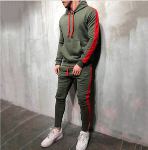 2 Pieces Sets Men Tracksuit New Autumn Winter Hooded Sweatshirt +Drawstring Pants Male Stripe Patchwork Hoodies
