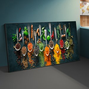 Kitchen Theme Wall Art Posters And Prints Herbs and Spices on the Table Canvas Paintings On the Wall Art Cooking Pictures Cuadro