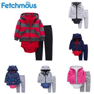Fetchmous Kış Bebek Giyim 3PCS / ayarlar Yenidoğan Infantil Boy Kız Çocuk Giyim Coat + Bodysuits + Pant roupas de