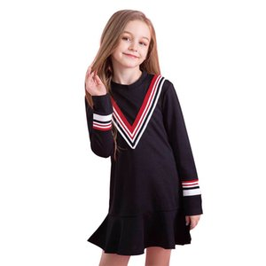Girl Dress Autumn Winter Kids Clothing Long Sleeve Striped V Decoration Casual Children Dress 4 5 6 8 10 years S200113