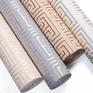 Rölyef Geometrik Wallpaper 3d Kalınlaşmış geyik derisi Kadife Salon Tv Arkaplan Gri Bej Fret Wallpaper Yeni Çin Stil