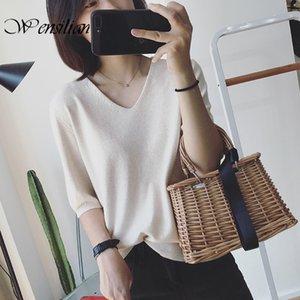 Cotton T Shirts Women Tops Half Sleeve Casual Harajuku Shirts Basic Fashion Tshirt V-Neck Knitted T-shirt Camiseta Feminina 2020