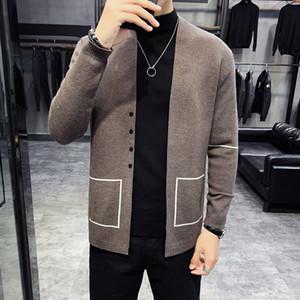 Escudo sweter De Hombre Negro Vetement Homme de punto para hombre de los suéteres de lana suéter café otoño rebeca del suéter Herren Pullover