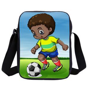 Pequenas Bolsas Mensageiro Rapazes Meninas fresco da arte da arte preta Black Boys Africano de Futebol Prints 3D Crianças Bandoleira Sacos Sling Sac à main