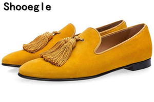SHOOEGLE Luxury Suede Slippers Men Tassel Loafers Shoes Velour Smoking Slip-on Men s Flats Party Wedding Shoes Mens Dress