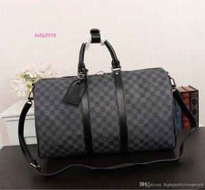 classic brown letter canvas leather men duffel bag fashion style big size women handbag free shipping N41413
