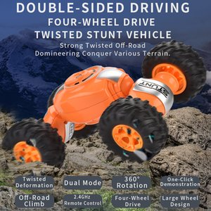 Boys Car 4WD Remote Control 09 Road Drift Toys 2.4G Twisted Toys Car Vehicle Deformation Stunt Climbing For Kids Buggy Off RC Kiwms