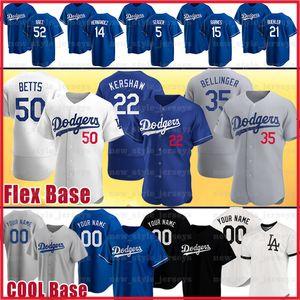 50 Mookie Betts 22 Clayton Kershaw personnalisé Jersey Cody Bellinger Corey Seager Hernandez Hyun-Jin Ryu BUEHLER Justin Turner Baseball Maillots