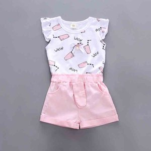Toddler Girls Summer Clothing Set Sleeveless Tops+Pink Shorts 2pcs Baby Girl Suits Children Clothes 1-5Y