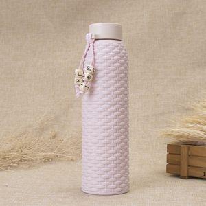 Hohe Qualität ähnliche Rattan Art und Weise Double-Layer-Insulated Geschenk Cup Studenten Tragbarer Wasserflaschen Big Kapazität Außeneinsatz Glass Cup DH0034