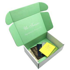 친환경 삼각형 우편 메일 링 컬러 턱 상단 메일러 패키지 상자 블랙 더블 벽 골 판지 상자