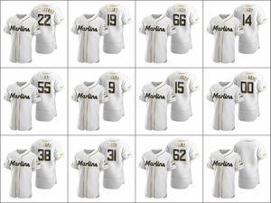 MiamiMarlins Men # 14 Martin Prado 22 Sandy Alcantara 62 Jose Urena Donne gioventù autentico bianco d'oro edizione Jersey su ordinazione