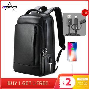 BOPAI mens laptop genuino Zaino in pelle business casual vera pelle zaino maschio del computer bagpack zaino nero