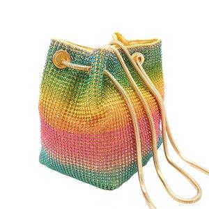 FGG bolsas de mano vestido de arco iris de la tarde de malla diamante Mano cubo de diamantes de imitación bolso de noche bolsa de banquetes