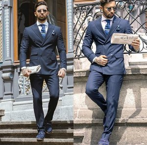 Handsome 2-piece Cotton Blend Navy Formal Wedding Tuxedos Slim Fit Double Breasted Mens Suits Peaked Lapel Business Prom Party Blazer Suit