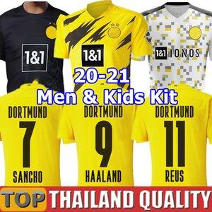 19 20 21 BVB Borussia Dortmund REUS Guerreiro Futbol formaları 2020 Karartma SANCHO HUMMELS HAALAND futbol gömlek seti BRANDT Erkekler Çocuk Kiti üniforma