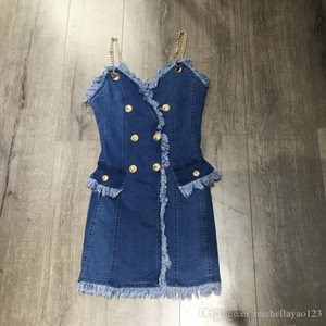 Milan Runway Dress 2018 Chain Spaghetti Straps Jeans tassel Short Women's Dress Sexy Buttons Dresses DH25