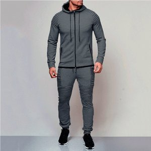 Casual men set (jacket+pant) Spring autumn Solid color hooded coat and Beam foot pants men zipper Cardigan outwear and Sweatpant