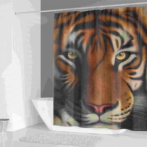 욕실 장식 사용자 정의 사자 호랑이 야수를위한 3D 인쇄 동물 샤워 커튼 목욕 화면 방수 커튼을