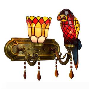Luce della parete europea di stile di Tiffany Stained Glass Wall Light Parrot Lamp Fixture Home Ristorante decorativo di arte della parete della lampada