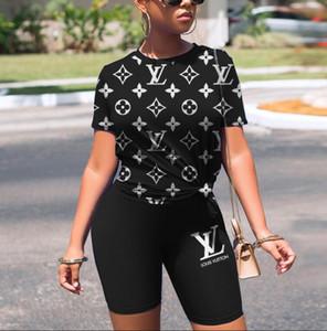 In magazzino progettista delle donne della tuta senza maniche raccolto top t-shirt pantaloni insieme delle 2 parti leopardo camicia magro stampa brevi collant vestito di sport