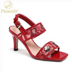 Phoentin mesh women sandals bling red sexy high heels women's fashion 2020 embroidery floral shoes ladies plus size FT1024