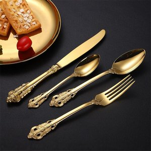 European StyleTableware Upscale Hotel Flatware Palace Retro Relief Design Knife Fork Spoon Dessert Spoon Food Grade Stainless Steel Spoons