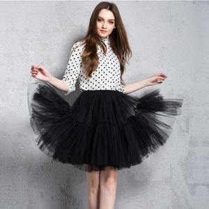 Мода 5 слоев 60см Туту Тюль юбка Vintage Midi плиссе свадебные Юбки Женская Лолита Petticoat faldas Mujer SAIAS Юп