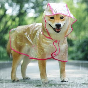 @HE Pet Rain Coat Outdoor Transparent Hooded Cloak Raincoat Waterproof Puppy Dog Jacket Fashion Dog Clothing T200328