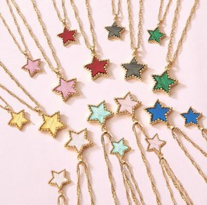 Women Fashion Pendant Necklace 2020 New Charm Candy Color Acetic Acid Plate Star Multilayer Clavicle Chokers Necklaces Jewelry Gift 2020 New