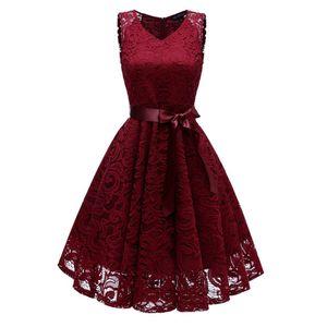 V Neck Lace A Line Sleeveless Dress Vintage Dresses Elegant Prom Princess Dress