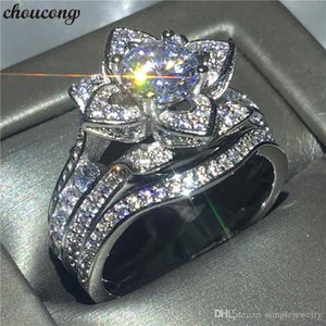 choucong Charm Flower Shape Promise Ring Bridal set 925 Sterling Silver 5A cz Engagement Wedding Band Rings For Women Jewelry