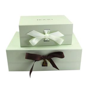 Hohe Qualität Benutzerdefinierte Luxus Starren Kartonverpackungen Magnetic Folding Papier Hochzeit Kleid-Geschenk-Box mit Band Closure