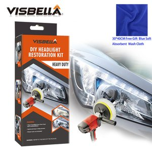 Polishes VISBELLA Headlight Restoration Repair Kit DIY Headlamp Car Care Repair kit Head Lamp Lens Clean Polish by machine with cloth