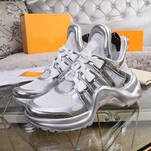 2020 SS18 Örgü rahat ayakkabı erkekler Kadınlar Gerçek Deri Buruşuk Koyun postu Arena Dantel-up Sneakers Şık Rahat Schoenen Boyutu 36-45