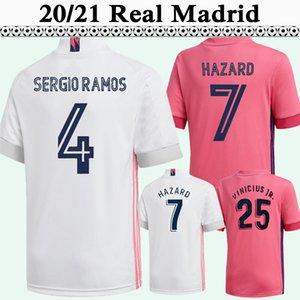 20 21 HAZARD BENZEMA SERGIO RAMOS ISCO Mens maglie calcio Real Madrid MODRIC MARIANO Kroos Vinicio JR. In casa Fuori casa natale di calcio Camicia