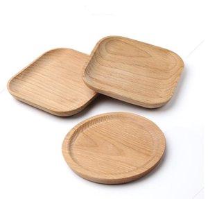 Десерт Бук Пластинчатые тарелка деревянная тарелка Блюдо Площадь Фрукты блюдечке Dish чай сервер круглый лоток Wood подстаканник Bowl Pad Посуда SN4544