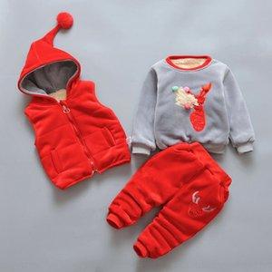 Season men women children's 1-2-3 to 4 years old fleece lining set sweatshirt Wool sweatshirt velvet three-piece