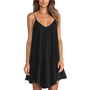 Vestidos de gasa de mujer Vestidos de verano Sexy Spaghetti Strap Sundress Sundress Azul Negro Femenino Flojo Mini Dress Soverize 6XL