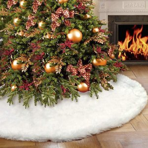 "White Plush Christmas Tree Skirt Aprons Christmas Tree Carpet Decorations for Home New Year Xmas Decor 30"" 48"" 60""Inch"