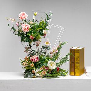 Wrought Iron Metal Flower Stand Wedding Decoration Display Fake Flower for Garden Home Wedding flower silk rose peony flores