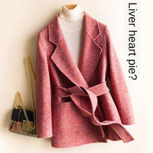 Automne et hiver Nouveau élégant manteau de laine à carreaux laine double face 100 pure laine manteau court de laine pour les femmes